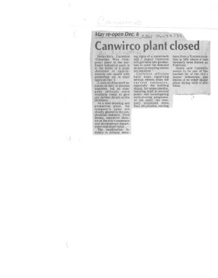 Canwirco plant closed
