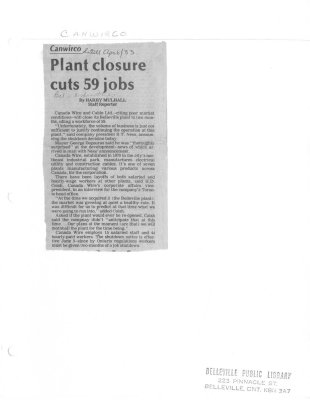 Canwirco: Plant closure cuts 59 jobs