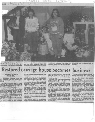 Restored carriage house becomes business : Carriage House Florists