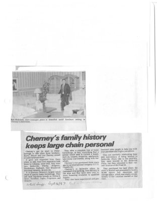 Cherney's family history keeps large chain personal : Cherney's furniture world