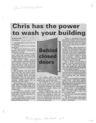 Chris has the power to wash your building : Chris' Mobile Wash