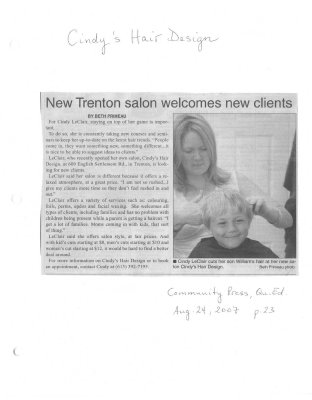 New Trenton salon welcomes new clients : Cindy's Hair Design
