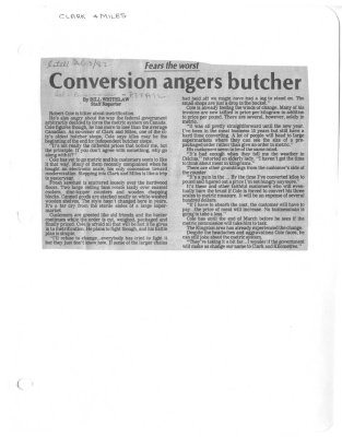 Fears the worst : Conversion angers butcher