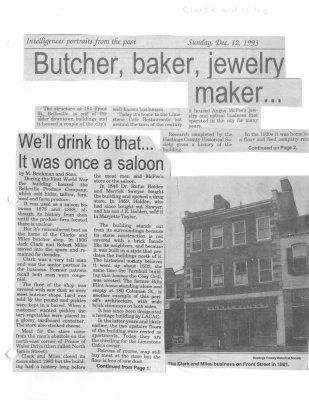 Butcher, baker, jewelry maker... : Clark and Miles Butcher Shop