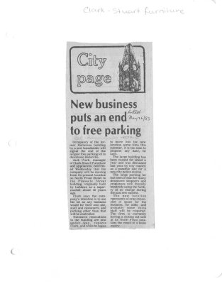 New business puts an end to free parking : Clark - Stuart furniture