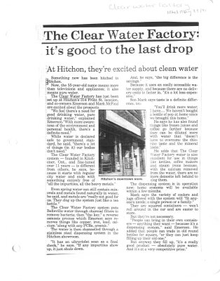The Clear Water Factory : its good to the last drop