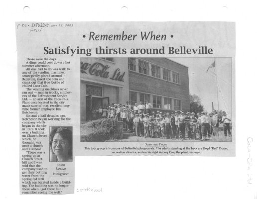 Satisfying thirsts around Belleville : Coca-Cola Ltd