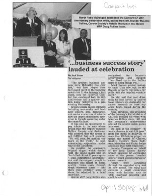 '...business success story' lauded at celebration : Comfort Inn