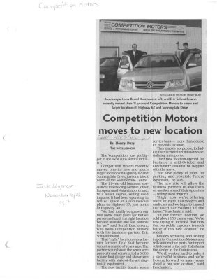 Competition Motors moves to new location