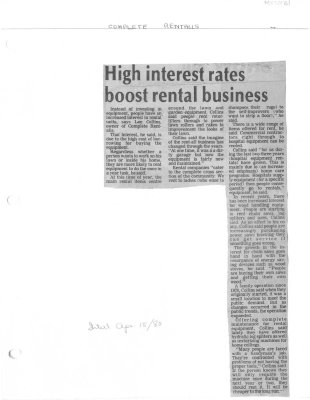 High interest rates boost rental business : Complete Rentalls
