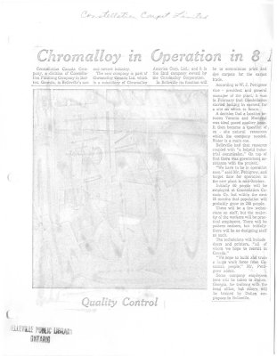 Chromalloy in Operation in 8 : Constellation Carpet Limited
