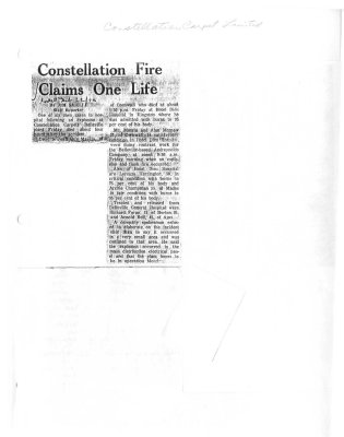 Constellation Fire Claims One Life : Constellation Carpet Ltd