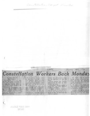 Constellation Workers Back Monday : Constellation Carpet Limited