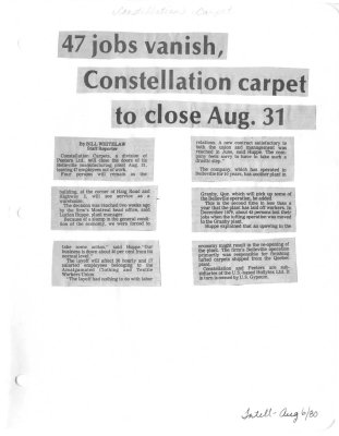 47 jobs vanish, Constellation carpet to close Aug. 31