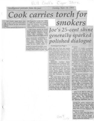 Cook carries torch for smokes : Bill Cooks Cigar Store