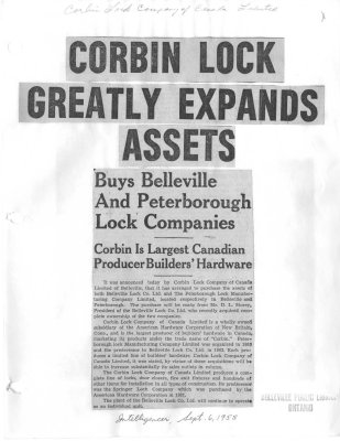 Corbin Lock Greatly Expands Assets