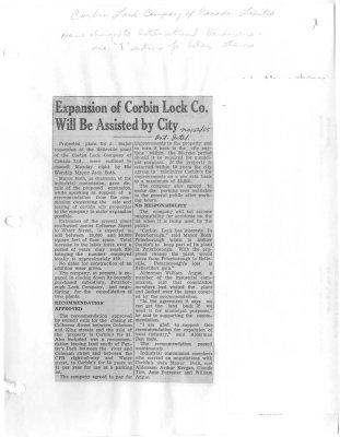 Expansion of Corbin Lock Co. Will Be Assisted by City