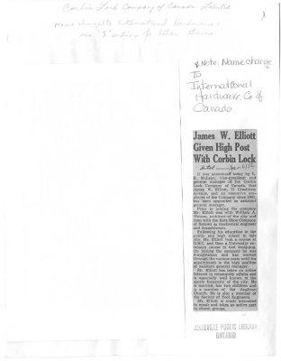 James W. Elliott Given High Post With Corbin Lock