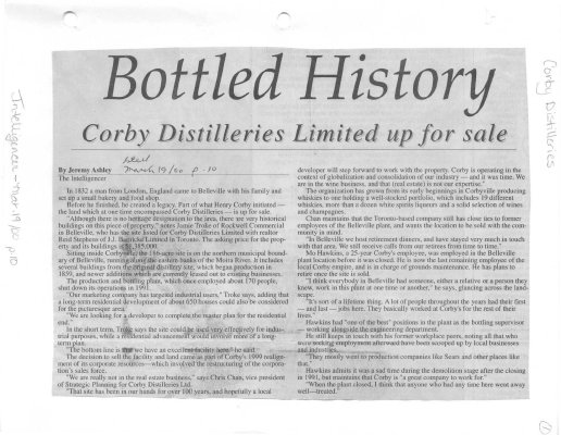 Bottled History - Corby Distilleries Limited up for sale