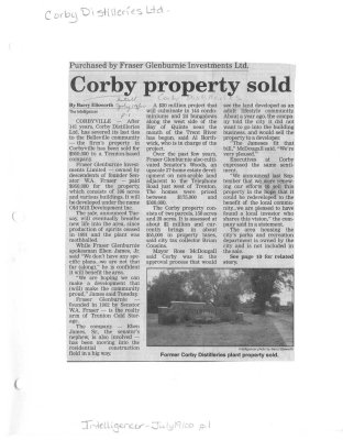 Corby property sold : Corby Distilleries  Ltd