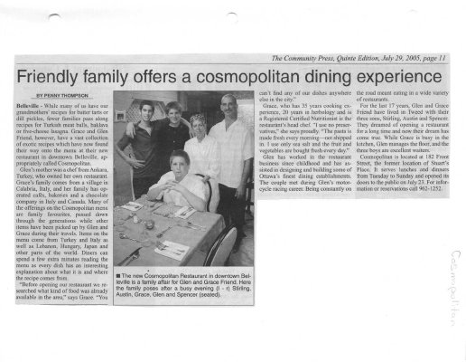 Friend family offers a cosmopolitan dining experience