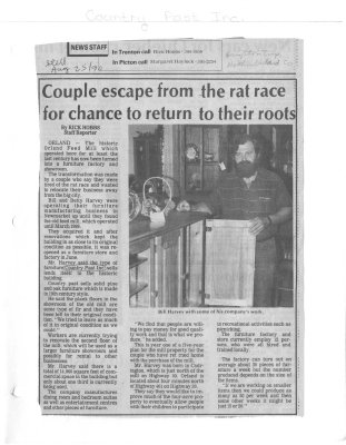 Couple escape from the rat race for chance to return to their roots : County Past Inc.