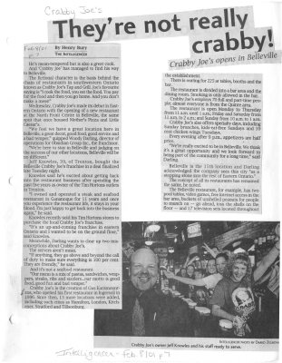 They're not really crabby! - Crabby Joes opens in Belleville