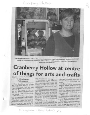Cranberry Hollow at centre of things for arts and crafts