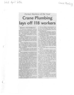 Crane Plumbing lays off 118 workers