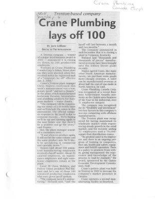 Crane Plumbing lays off 100