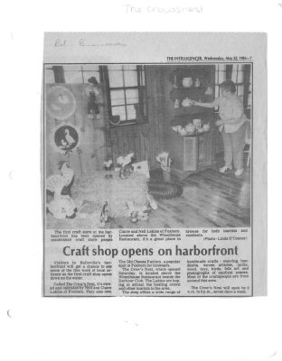 Craft shop opens on harborfront : The Crowsnest
