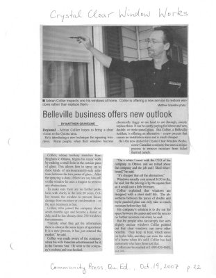 Belleville business offers new outlook : Crystal Clear Window Works