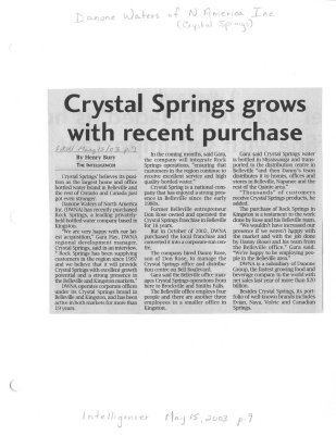 Crystal Springs grows with recent purchase