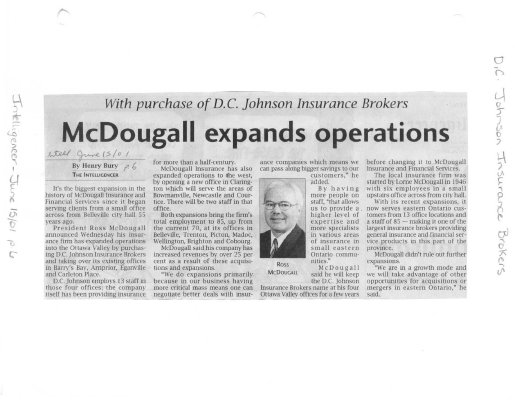 McDougall expands operations : D.C Johnson Insurance Brokers