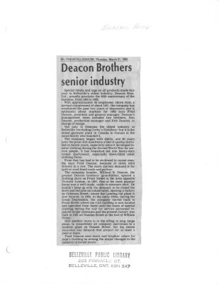 Deacon Brothers senior industry
