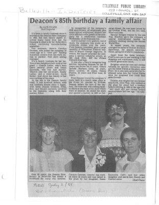 Deacon's 85th birthday a family affair