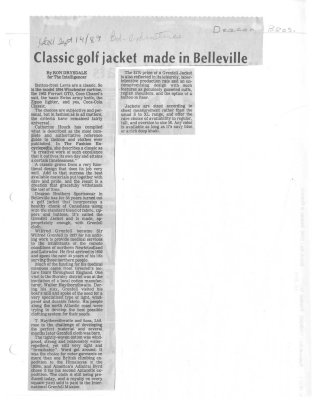 Classic golf jacket made in Belleville: Deacon Brothers