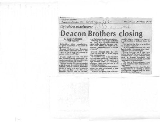 Deacon Brothers closing