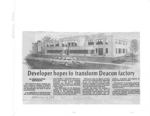 Developer hopes to transform Deacon factory