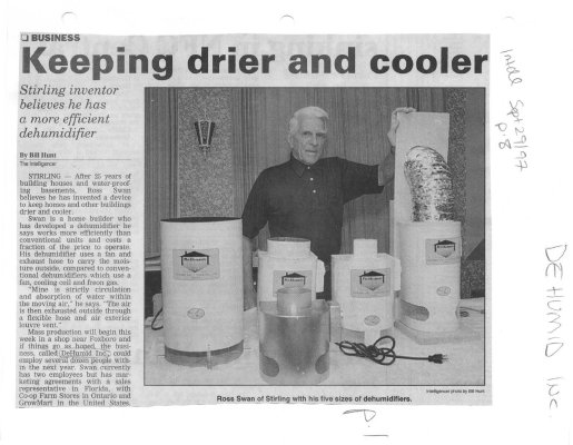 Keeping drier and cooler: DeHumid Inc