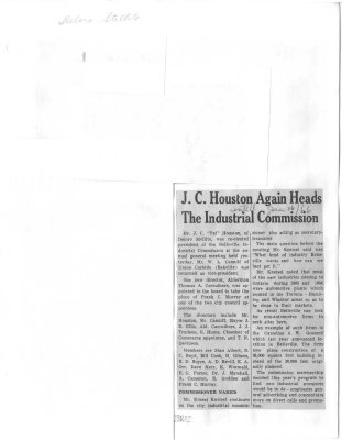 J.C. Houston Again Heads The Industrial Commission