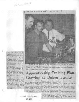 Apprenticeship Training Plan Growing at Deloro Stellite