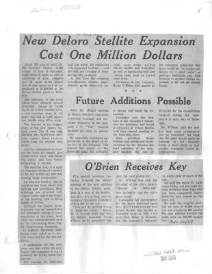 New Deloro Stellite Expansion Cost One Million Dollars