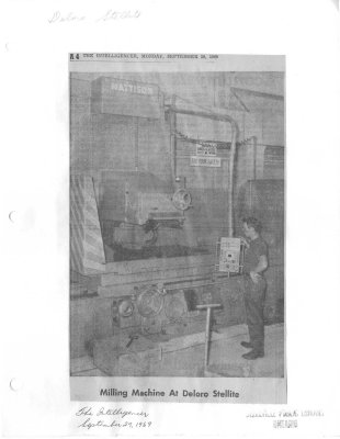 Milling Machine At Deloro Stellite