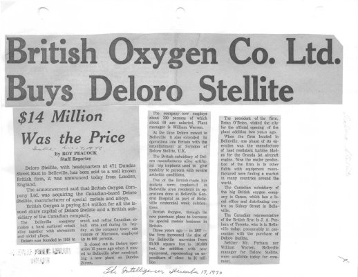 British Oxygen Co. Ltd. Buys Deloro Stellite