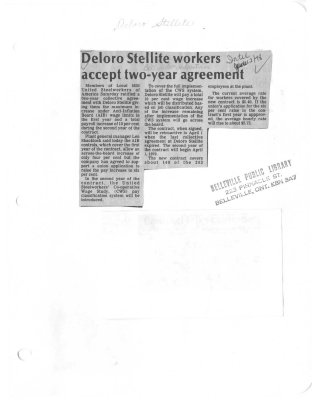Deloro Stellite Workers accept two-year agreement