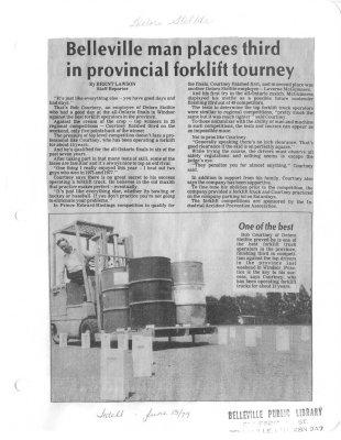 Belleville man places third in provincial forklift tourney : Deloro Stellite