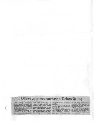 Ottawa approves purchase of Deloro Stellite