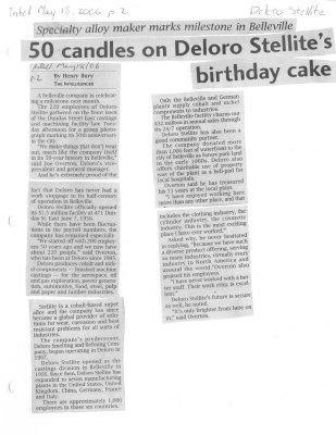 50 candles on Deloro Stellites birthday cake