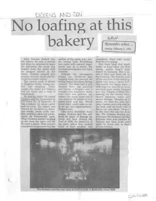 No loafing at this bakery: Dickens and Son